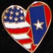Veterans Flag Heart Pin